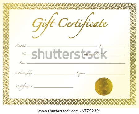 Gold Gift Certificate with golden seal and design border.