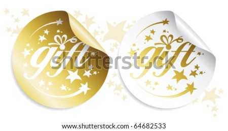 Gold gift stickers, holidays set.