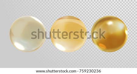 Gold glass ball isolated on transparent background. 3D realistic vector golden oil vitamin E pill capsule for medical or healthcare template design. Golden droplet of oil or collagen essence