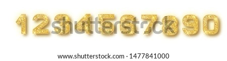 Gold glitter alphabet numbers set with shadow. Vector realistic shining golden font number 1,2,3,4,5,6,7,8,9,0 of sparkles on white background. For decoration of cute wedding, anniversary, party, lab