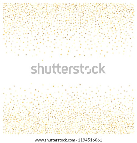 gold glitter background, sparkling abstract golden metal christmas confetti falling. light magic shining Flying glitter dots particles, sparkle vector border backdrop. shimmer shiny halftone