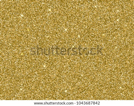 Gold glitter background texture. Vector glittery festive background for luxury gift card or holyday Christmas backdrop. Sparkle golden confetti decoration design for premium design