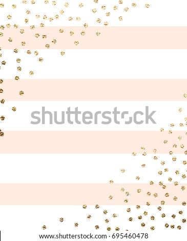 Gold glitter circles with peach stripes. Simple golden border. Background for holiday designs, card, invitation, party, birthday, wedding, baby shower, bridal shower, save the date, anniversary.