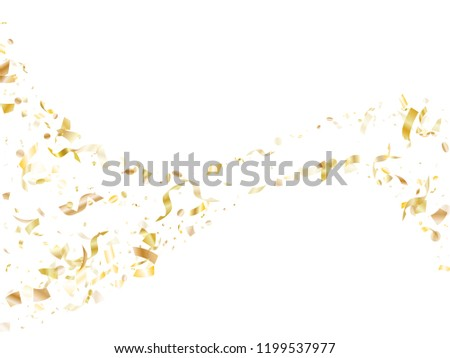 Gold glitter confetti flying on white holiday vector backdrop. Chic flying sparkle elements, gold foil gradient serpentine streamers confetti falling festive vector.