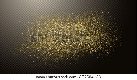 Gold glitter dust, cloud abstract elements on transparent background, golden sparkles. Vector illustration.