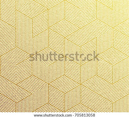 Gold glitter geometric pattern background with hexagon line texture. Golden Christmas wallpaper.