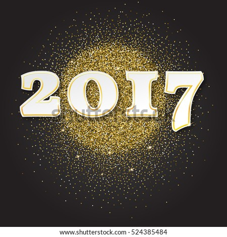 Gold glitter Happy New Year 2017 background. Gold sparkles, invitation template for new year eve. Merry Christmas Design. Golden Dust Explosion. #524385484