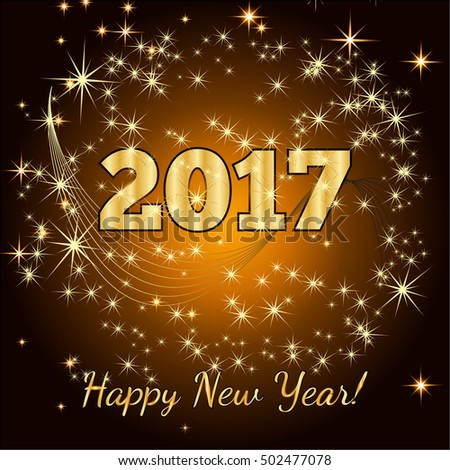 Gold glitter Happy New Year 2017 background. Vector background.Glittering texture. Sparkles with frame. Design element for festive banner, card, invitation. Greeting illustration for Xmas. #502477078