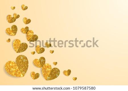 Gold glitter heart on yellow background, golden blink paper art frame border. Shine love icon banner, glossy flash aurum light wallpaper. Saffron Valentine card backdrop.