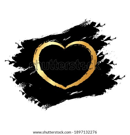Gold glitter hearts on black blots, transparent background. Banner for valentines day, wedding, love greeting card.