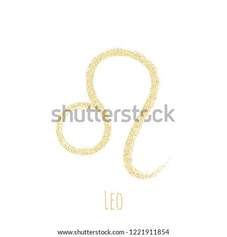 Gold glitter Leo zodiac sign, hand painted horoscope symbol vector. Astrological icon isolated. Leo astrology zodiac symbol gold clip art.