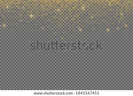 Gold glitter particles isolate on png or transparent  background with sparkling  snow, star light  for Christmas, New Year, Birthdays, Special event, luxury card,  rich style.  illustration