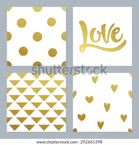 gold glitter patterns set with