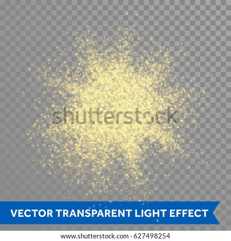 Gold glitter powder explosion. Golden dust and spark particles splash or shimmer burst. Sparkling sequins texture effect on transparent background