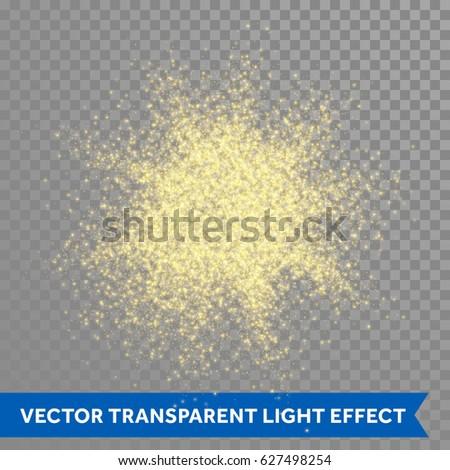 Gold glitter powder explosion. Golden dust and spark particles splash or shimmer burst. Sparkling sequins texture effect on transparent background