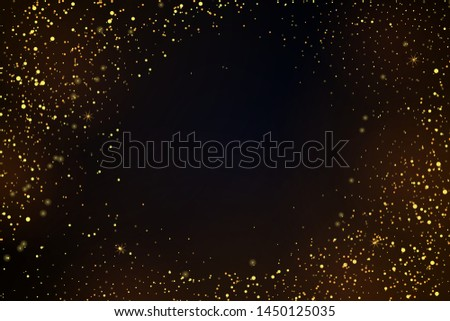 Gold glitter powder splash vector background. Golden scattered dust. Magic mist glowing. Stylish fashion black backdrop