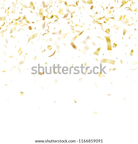 Gold glitter realistic confetti flying on white holiday vector backdrop. Luxurious flying tinsel elements, gold foil gradient serpentine streamers confetti falling birthday background.