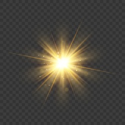 Gold glitter star burst with sparkles. Vector glow light effect