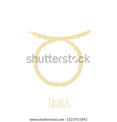 Gold glitter Taurus zodiac sign, hand painted horoscope symbol vector. Astrological icon isolated. Taurus astrology zodiac symbol gold clip art.