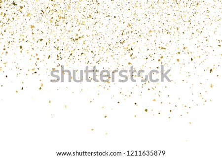 Gold Glitter Texture Isolated On White. Amber Particles Color. Celebratory Background. Golden Explosion Of Confetti. Design Element. Vector Illustration, Eps 10.