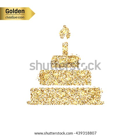 Gold glitter vector icon of cake isolated on background. Art creative concept illustration for web, glow light confetti, bright sequins, sparkle tinsel, abstract bling, shimmer dust, foil.