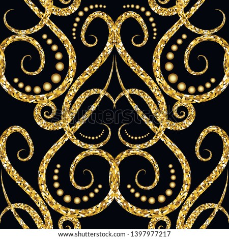 Gold glitter Vintage ornamental vector seamless pattern. Arabic style patterned  ornate background. Repeat damask glittering backdrop. Arabesque floral glitters ornament. Modern luxury grunge design