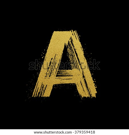 Gold glittering letter A in brush hand painted style
