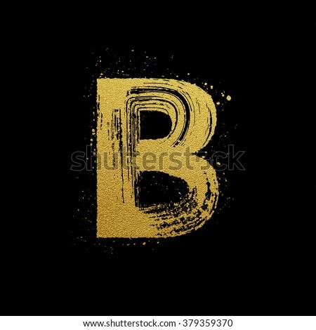 gold glittering letter b in