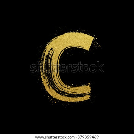 Gold glittering letter C in brush hand painted style