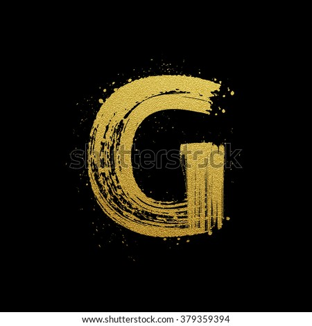 Gold glittering letter G in brush hand painted style