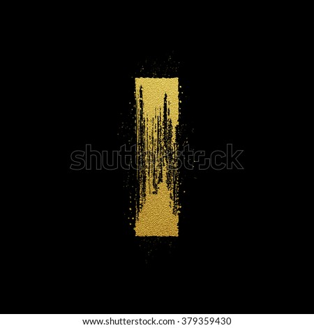 Gold glittering letter I in brush hand painted style