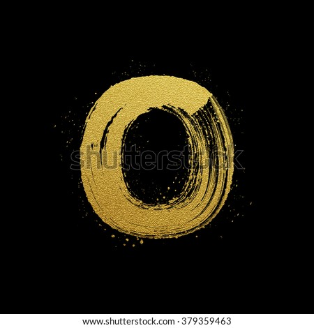 Gold glittering letter O in brush hand painted style