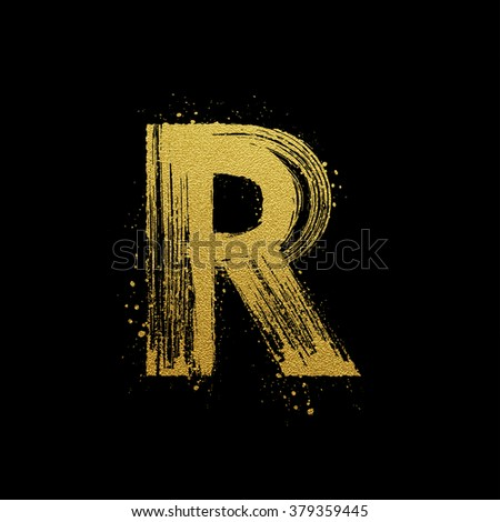 Gold glittering letter R in brush hand painted style