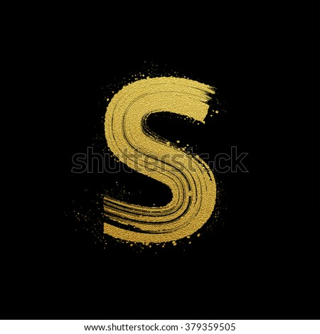Gold glittering letter S in brush hand painted style