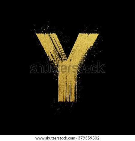 Gold glittering letter Y in brush hand painted style