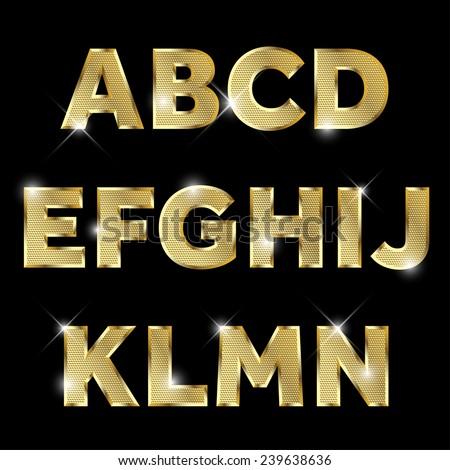 gold glittering  metal alphabet