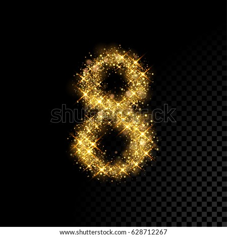 gold glittering number eight