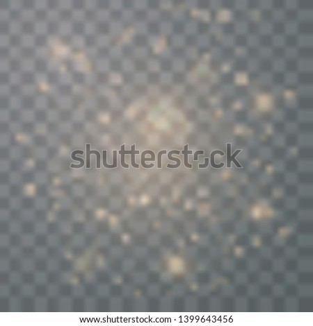 Gold glittering star dust trail sparkling with sparkles isolated on transparent background.