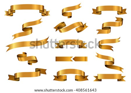 Gold glossy curled waving ribbon banners labels set. Vector illustration