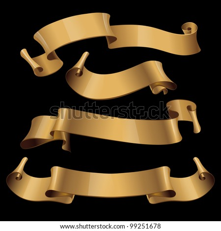 stock-vector-gold-glossy-ribbons-on-a-black-background-eps