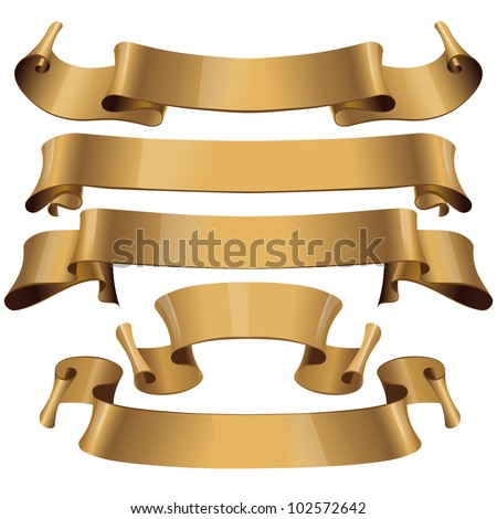 Gold glossy ribbons on a white background. eps 10