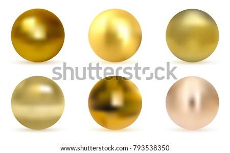 gold  glossy sphere set
