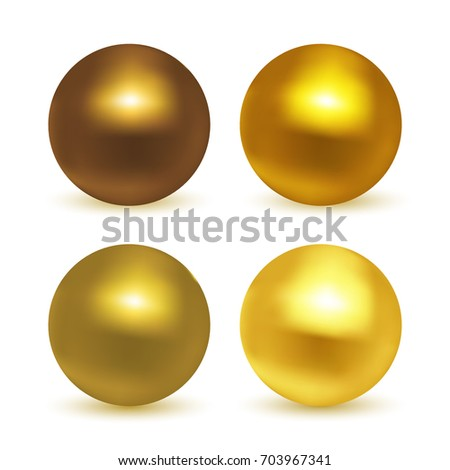 gold  glossy sphere set