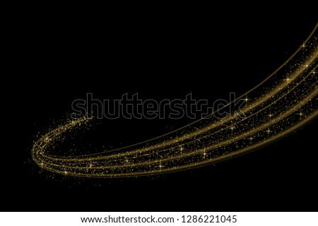 Gold glow light effect stars bursts with sparkles isolated. magic dust particles. Vector illustration sparkling comet tail