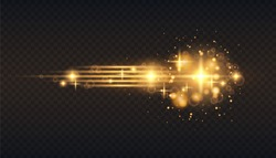 Gold glow particles bokeh. Glitter effect. Burst with sparkles. Translucent special light effect. Black background. Digital element. Vector blur in motion. Horizontal star burst rays.