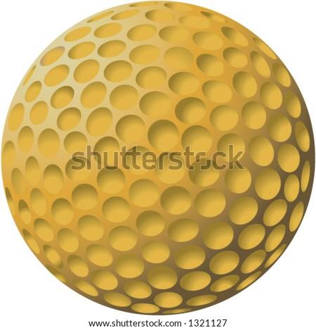 golf ball vector. stock vector : Gold Golf Ball