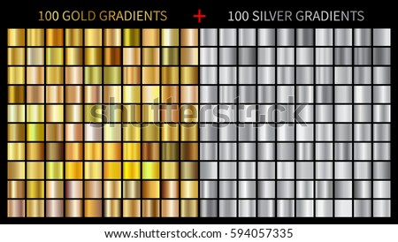 Gold gradients 100 big set. Mega collection of golden gradient illustrations for backgrounds, cover, frame, ribbon, banner, coin, label, flyer, card etc. Vector template EPS10