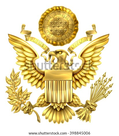 Gold Great Seal of the United States American eagle design with bald eagle holding an olive branch and arrows with American flag shield. With E pluribus unum scroll  and stars glory over his head.