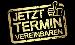 gold grunge stamp with frame, big thumbs up and text arrange meeting now (in german)