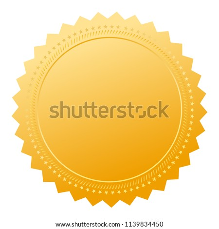 Gold guarantee seal isolated on white background